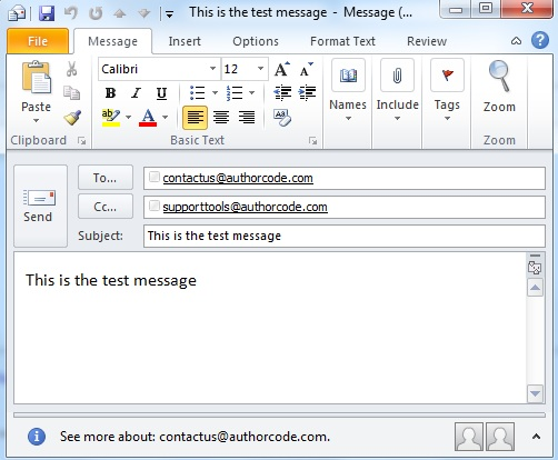 create Outlook email item using C-sharp