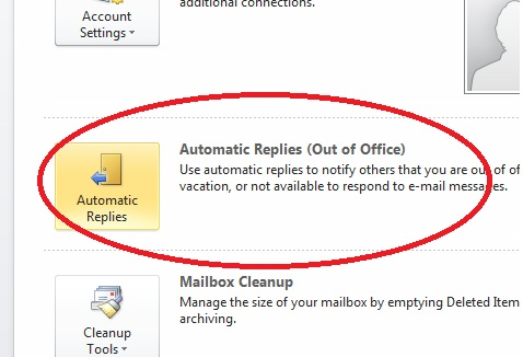 How To Set Up Out Of Office Reply In Outlook 2010